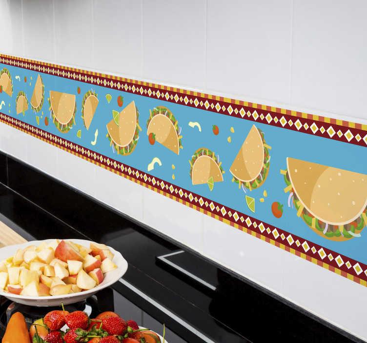 TenVinilo. Vinilo cocina Tacos dibujos. Cenefa formada por el diseño de unos tacos sobre un fondo azul claro y enmarcada por dos líneas con motivos geométricos. Envío Express en 24/48h.