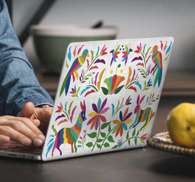 TenStickers. Tenangos laptop skin. Tenango laptop sticker withanimal and bird on tree design. Easy to apply and available in any required size. Self adhesive and durable.