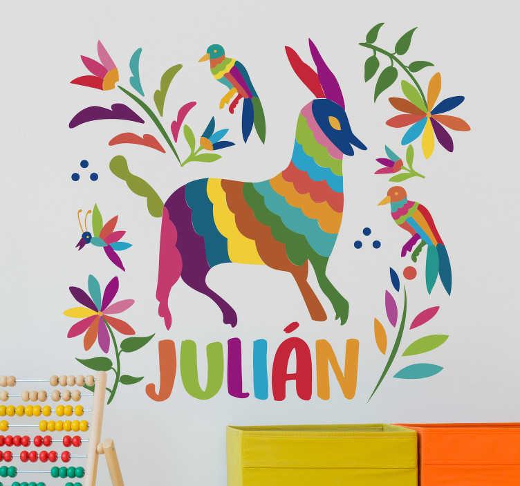 TenStickers. Sticker Abstrait Dessins Mexicains. Pour un sticker personnalisé empli de couleurs et de lumière, ce sticker abstrait aux inspirations mexicaines sera idéal pour la chambre d'enfant !