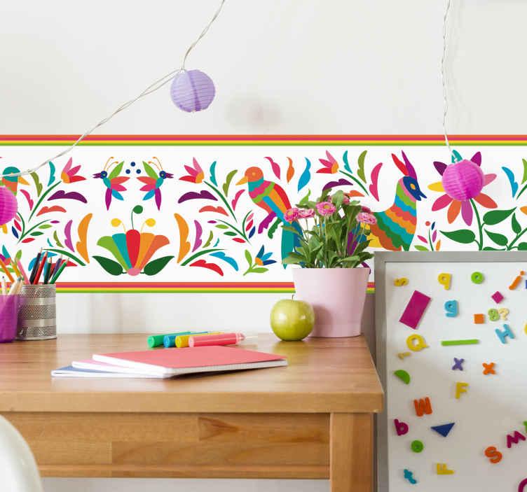TenStickers. Muurstickers kinderkamer Tenango patronen. Als de kamers van jouw kinderen er een beetje kaal uitzien, is deze felgekleurde Mexicaanse Tenango patronen muursticker de ideale wanddecoratie.