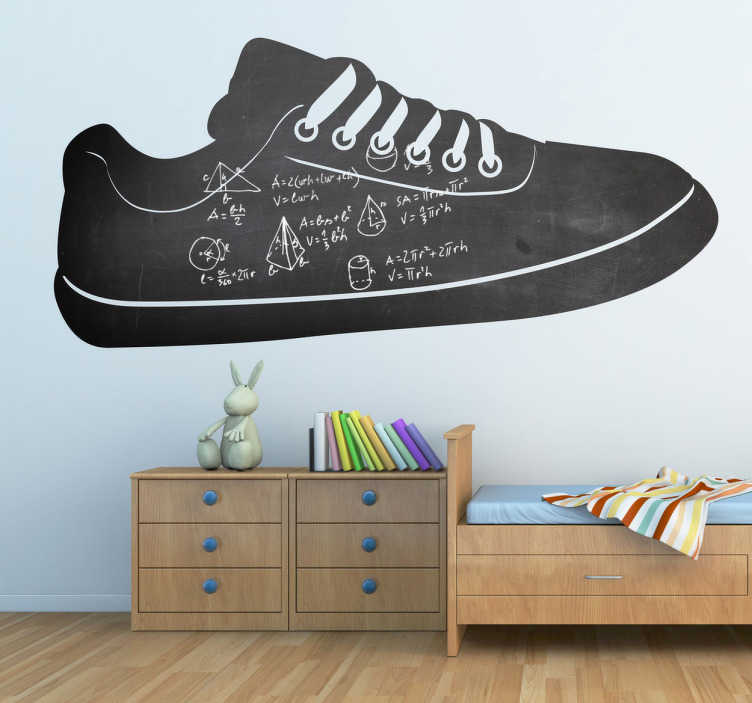 TenStickers. Shoe Silhouette Blackboard Sticker. Blackboard Stickers - Silhouette design of a sneaker. Original way to decorate that allows kids to also get creative. . Zero residue upon removal.