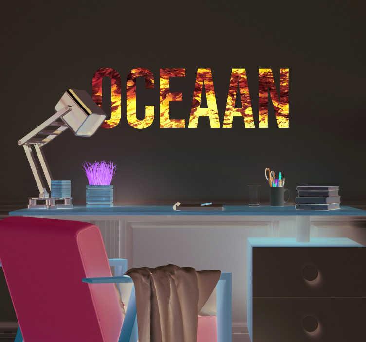 TenStickers. Tekstmuurstickers Een oceaan. Deze muursticker is perfect voor liefhebbers van de zee die hun huis een speciale touch willen geven met hoge kwaliteit vinylstickers.