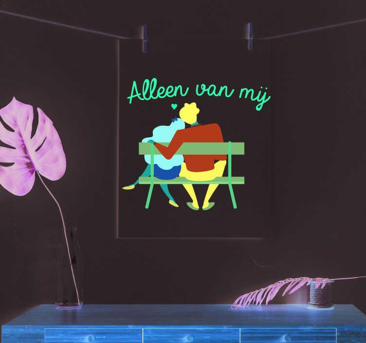 TenStickers. Valentijnsdag stickers Alleen van mij. Een romantische sticker die je gelijk verliefd laat worden. Een muursticker van een geliefde stel is de ideale sticker voor een romantische stemming.