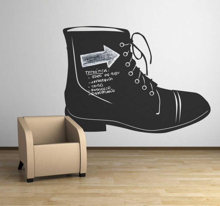 TenStickers. Boot Blackboard Sticker. Blackboard Stickers- Illustration of a boot. Slate sticker design ideal for decorating any room, also practical for drawing and writing notes.