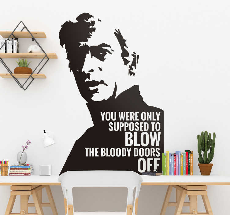 TenStickers. Italian Job Doors Text Sticker. Decorate your home with this fantastic film inspired wall sticker, depicting one of the greatest lines of all time! Discounts available.