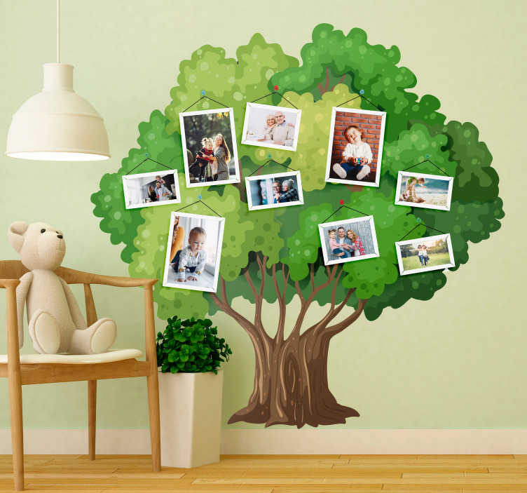 TenStickers. Family tree for children tree wall decal. Decorative home sticker of a family tree wall art that can be used to save family memory photos.  Easy to apply and available in any size.
