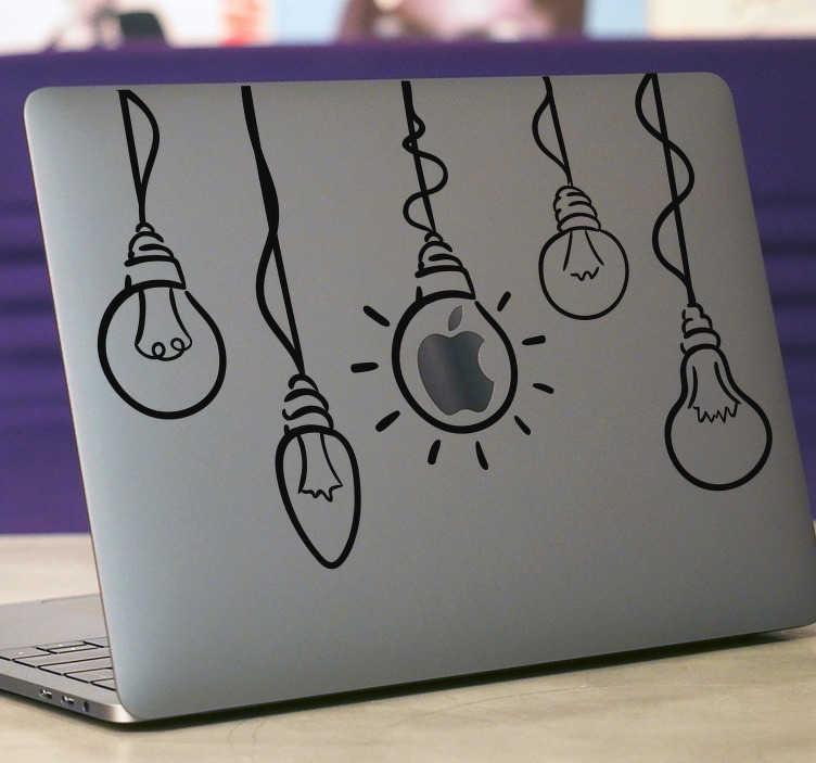 TenStickers. Sticker Ordinateur Portable Ampoules MacBook. Rien de tel pour développer vos idées de génie que de les illustrer via un sticker MacBook, qui s'adaptera à tous vos appareils Apple !