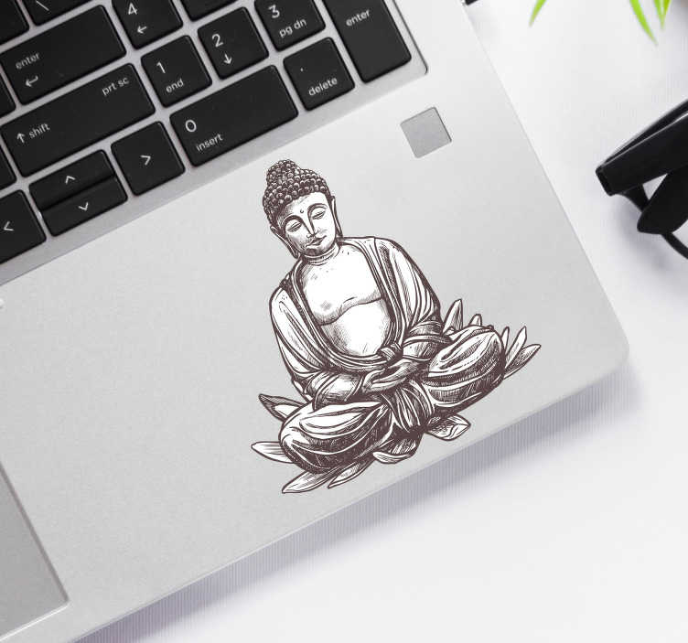 TenStickers. Buddha Decorative Laptop Sticker. Add a peaceful buddha to your laptop with this fantastic laptop sticker, depicting that very calming thing! Extremely long-lasting material.
