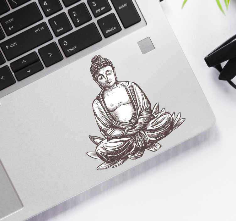 TenStickers. Laptop sticker van Buddha. Deze laptop sticker van Buddha die op een lotusbloem mediteert, is de ideale decoratie sticker voor iemand die erg spiritueel is.