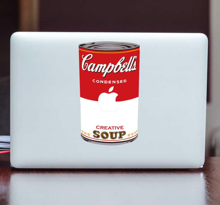 TenStickers. Sticker Ordinateur Portable Soupe Campbell's. Andy Warhol et sa fameuse soupe Campbell's maintenant disponible en sticker pour ordinateur portable désigné exprès pour tous vos produits Apple !