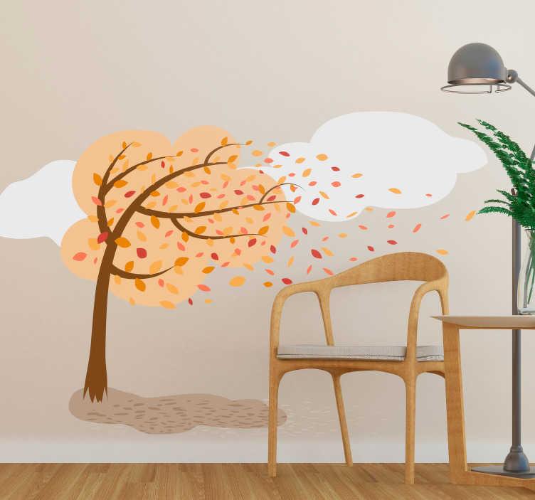 TenStickers. 가을 그림 나무 벽 스티커. 거실이나 침실 벽면에 적합한 가정용 데칼로 가을의 풍경과 함께 평화로운 분위기를 연출합니다.
