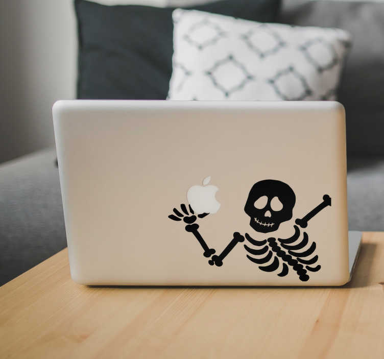 TenStickers. 骨架macbook万圣节贴纸. 你想要一个适合你的笔记本电脑或触摸板的原始图纸贴纸吗?这个有趣的骨架将是万圣节的完美季节!