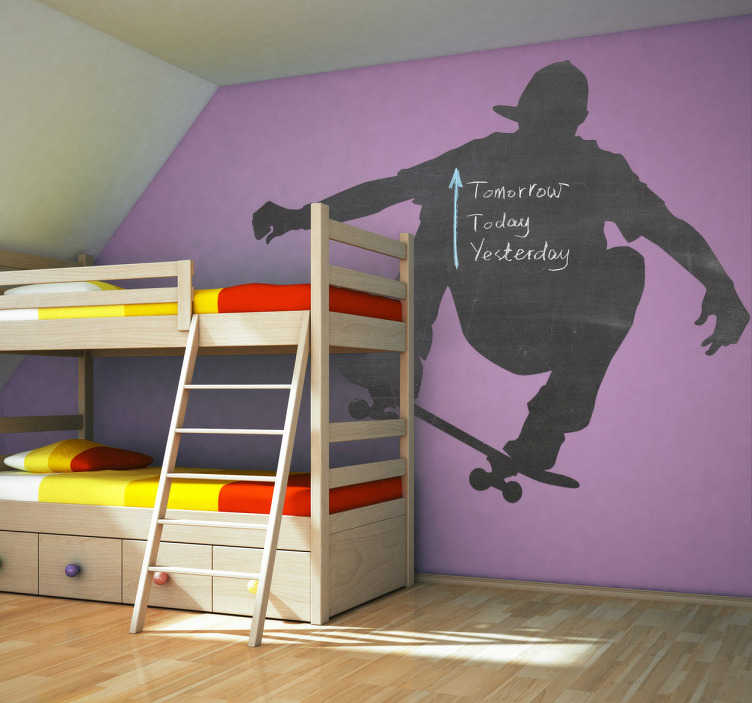 TenStickers. Skateboarder and Blackboard Wall Sticker. Blackboard Stickers - An illustration of a skateboarder that can also be used as a blackboard to write on! The skateboarder sticker is a great design to add to a child´s bedroom.