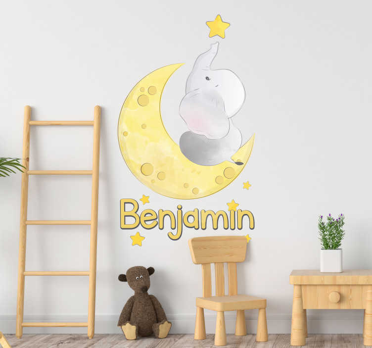 TenStickers. Moon and Stars with Name Customisable Sticker. Personalise your child´s bedroom with this fantastically peaceful - And customisable - moon and stars bedroom sticker! Zero residue upon removal.