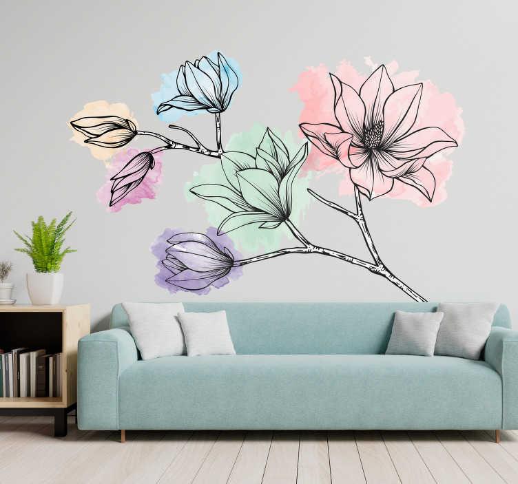 TenStickers. Sticker Maison Magnolias Style Aquarelle. Pour fêter l'arrivée du Printemps comme il se doit, rien de mieux que de décorer vos murs de jolies fleurs au style aquarelle avec ce sticker mural !