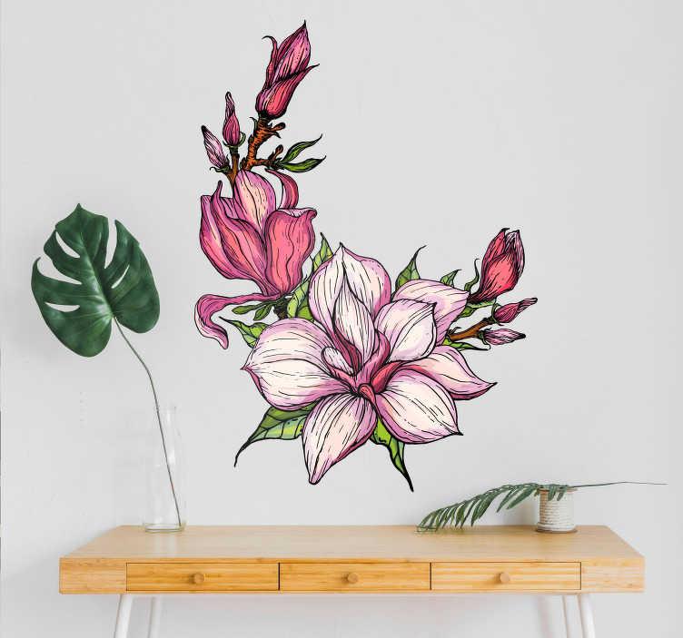 TenVinilo. Vinilo de magnolia para pared. Original y colorido vinilo adhesivo para pared formado por la ilustración de un magnolia. Fácil aplicación y sin burbujas.
