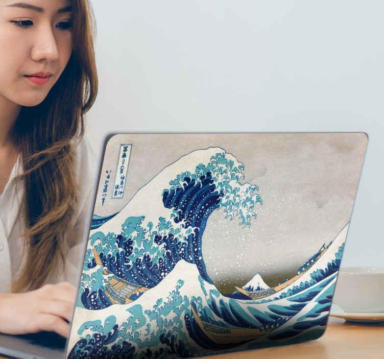 """TenVinilo. Vinilo original ola kanagawa. Original pegatina adhesiva para portátiles formada por la estampa japonesa """"La gran ola de Kanagawa"""". Descuentos para nuevos usuarios."""