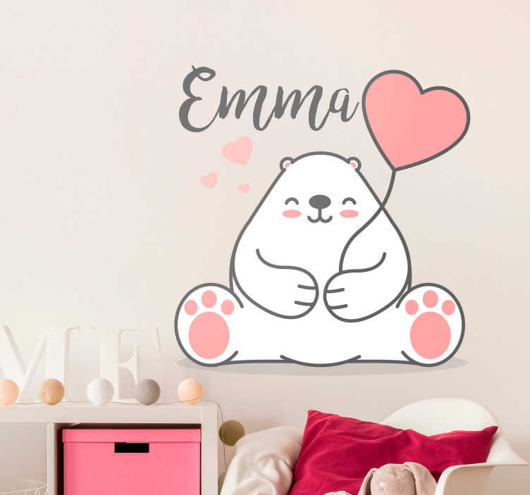 TenStickers. Cute Bear with Name Customisable Wall Sticker. Decorate your child´s bedroom with this superb customisable wall sticker, showing a bear with a customisable name! Choose your size.