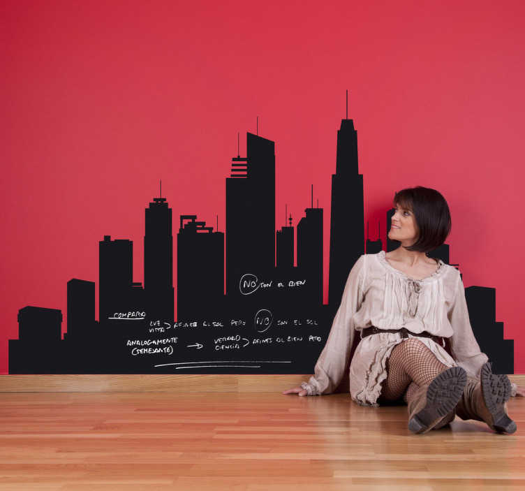 TenStickers. City Skyline Blackboard Sticker. Blackboard Stickers - Wall sticker of an urban city. Ideal for the living room or bedroom. Modern wall feature that you can also write on.