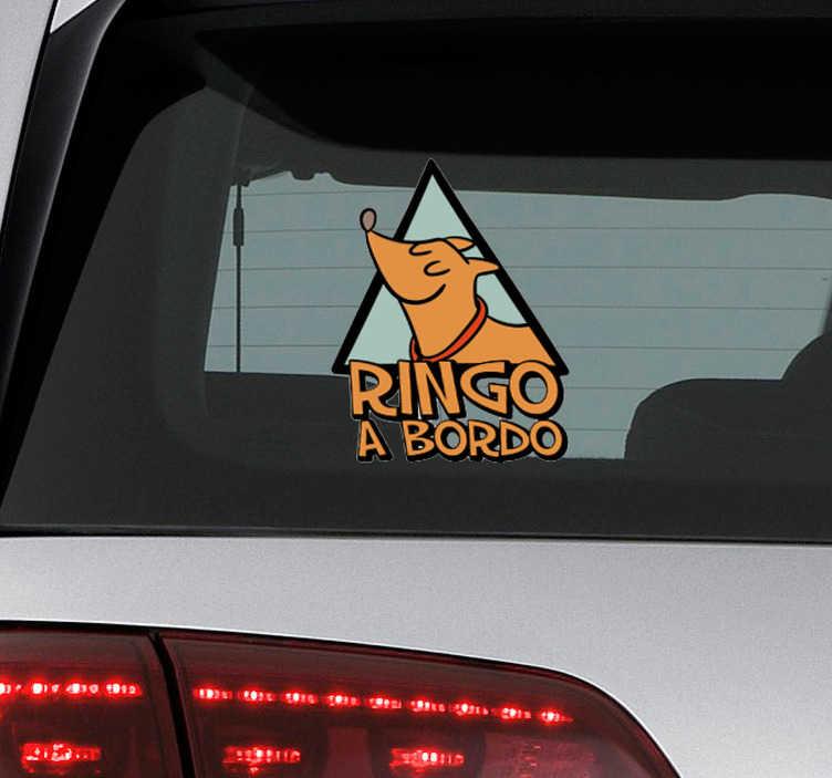 """TenVinilo. Vinilo frase perro a bordo personalizada. Vinilo adhesivo personalizado para vehículo formado por la ilustración de un perro acompañado del texto """"a bordo"""". +50 Colores Disponibles."""