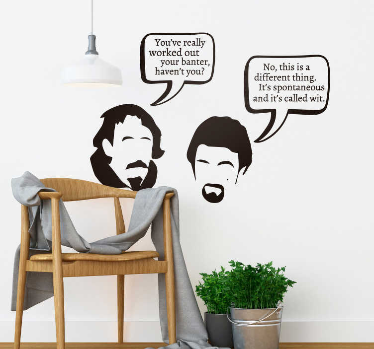 TenStickers. Blackadder Wit Living Room Wall Decor. Pay tribute to the magic of Blackadder with this fantastic TV themed wall sticker, promoting the art of wit! Personalised stickers.