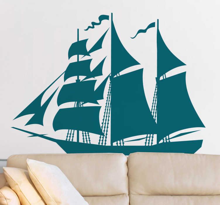 TenStickers. Naklejka dekoracyjna statek z żaglem. Naklejka dekoracyjna przedstawiającą statek z żaglem, która ozdobi ściany każdego pokoju. Obrazek jest dostępny w wielu kolorach i wymiarach.