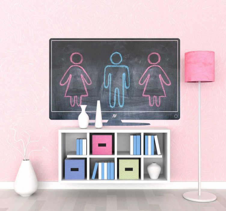 TenStickers. Muursticker krijtbord televisiescherm. Deze muursticker van een krijtbord is in de vorm van een televisiescherm. Een origineel en decoratief ontwerp voor de kinderkamer.