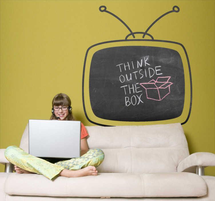TenStickers. Naklejka tablica telewizor. Naklejka tablica przedstawiona w śmiesznym kształcie telewizora, po którym możesz pisać kredą. Praktyczny pomysł i wykonanie.