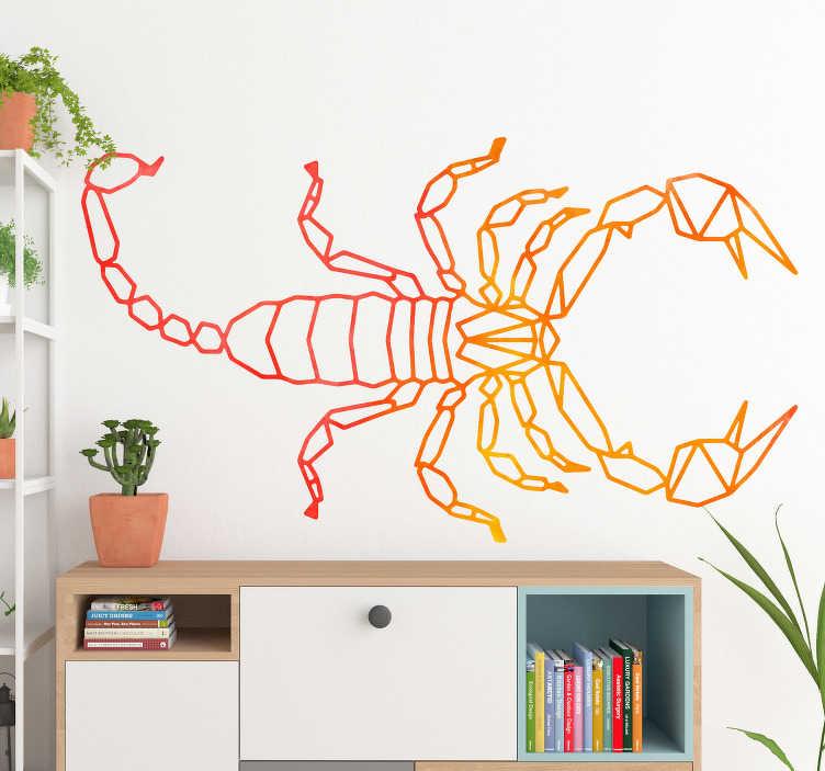 TenStickers. Naklejka z rysunkiem Geometryczny skorpion. Chciałbyś wyjątkowo udekorować pokój młodzieżowy lub salon? Sprawdź ciekawe naklejki ze zwierzętami i naklejki ze skorpionem. Ceny już od 8,75 zł!