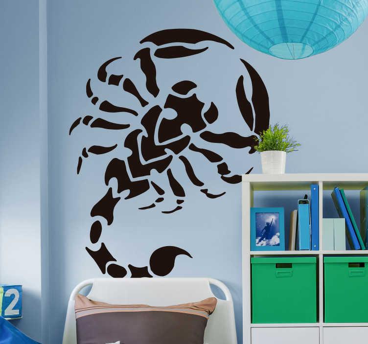 TenStickers. Sticker Mural Scorpion Tribal. Envie d'une ambiance cool à travers une décoration tribale ? Ce sticker insecte de scorpion au style tribal a été désigné pour vous !
