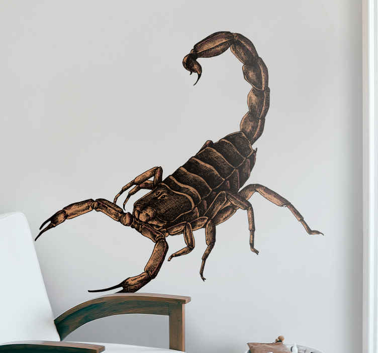TenStickers. scorpion illustration insect wall sticker. Decorative insect wall sticker with a scorpion design. It is easy to apply, self adhesive and available in any required size.