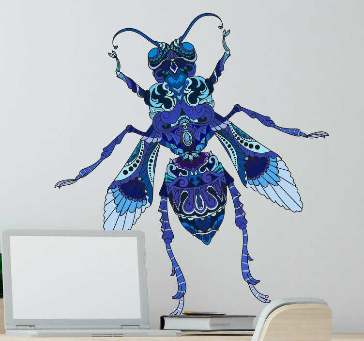 TenStickers. blue fly illustration insect wall sticker. Decorative insect wall sticker with a blue fly design for home decoration. Easy to apply, self adhesive and available in any size.