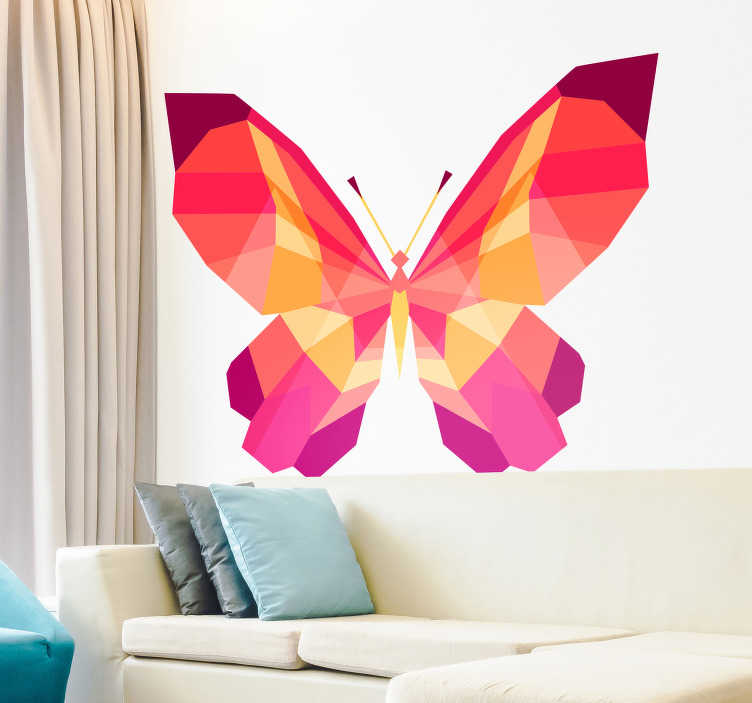TenStickers. 几何蝴蝶动物墙贴纸. 孩子贴纸 - 为装饰客厅做的五颜六色的蝴蝶。非常适合装饰卧室和儿童游乐区。