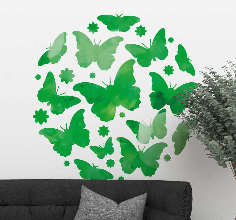 TenStickers. Sticker Papillon Papillons en forme circulaire. Un grand sticker papillon dont les dessins sont disposés en cercle, pour un effet harmonieux et serein inimitable. +10.000 Clients Satisfaits.
