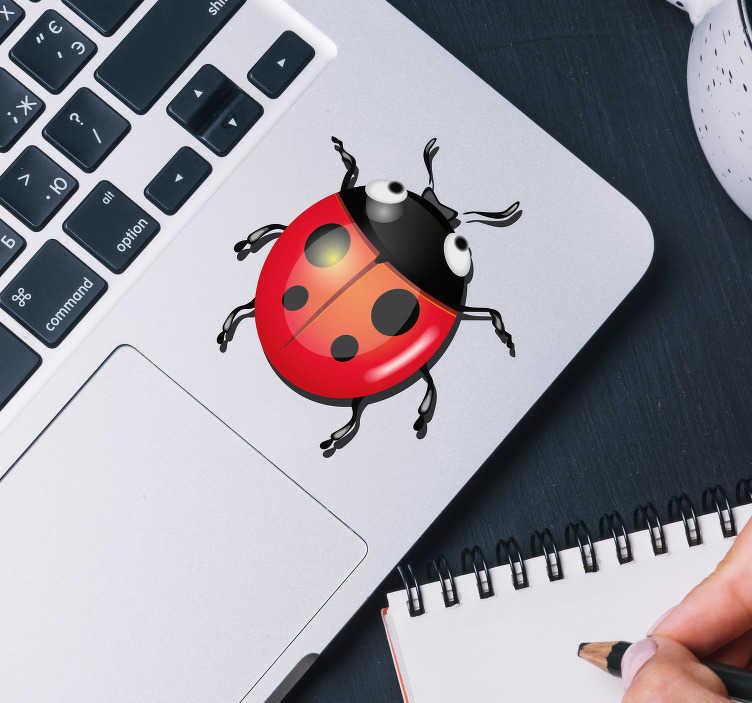 TenStickers. Sticker Ordinateur Portable Petite Coccinelle. Pour aussi décorer le pad tactile de votre ordinateur portable, le dessin de coccinelle de ce sticker PC conviendra à tous les modèles d'ordinateur.