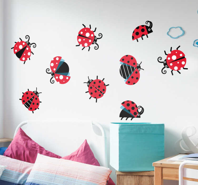 TenStickers. Ladybird Set Animal Wall Stickers. If you love ladybirds then you will love this insect wall sticker, depicting a set of ladybirds on a sheet! Available in 50 colours.