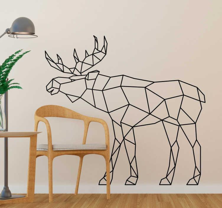 TenStickers. 기하학적 무스 동물 벽 스티커. 아름 다운 동물 벽 스티커는 현대적이고 독특한 방식으로 기하학적 인 라인으로 이루어진 무스를 보여주는. 우리의 야생 동물 벽 데칼을 확인하십시오.