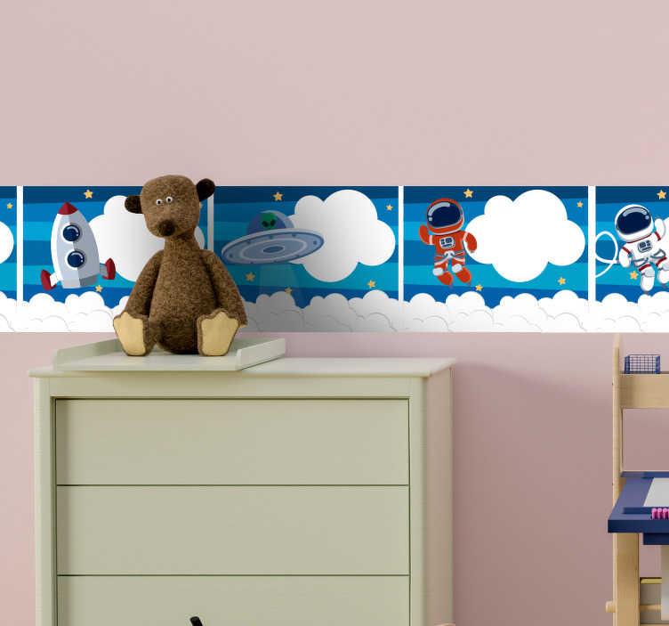 TenStickers. Sticker Espace Frise Espace. Un autocollant de l'espace pour votre chambre d'enfant qui se compose de plusieurs dessins, et qui donnera envie à votre enfant de devenir cosmonaute.
