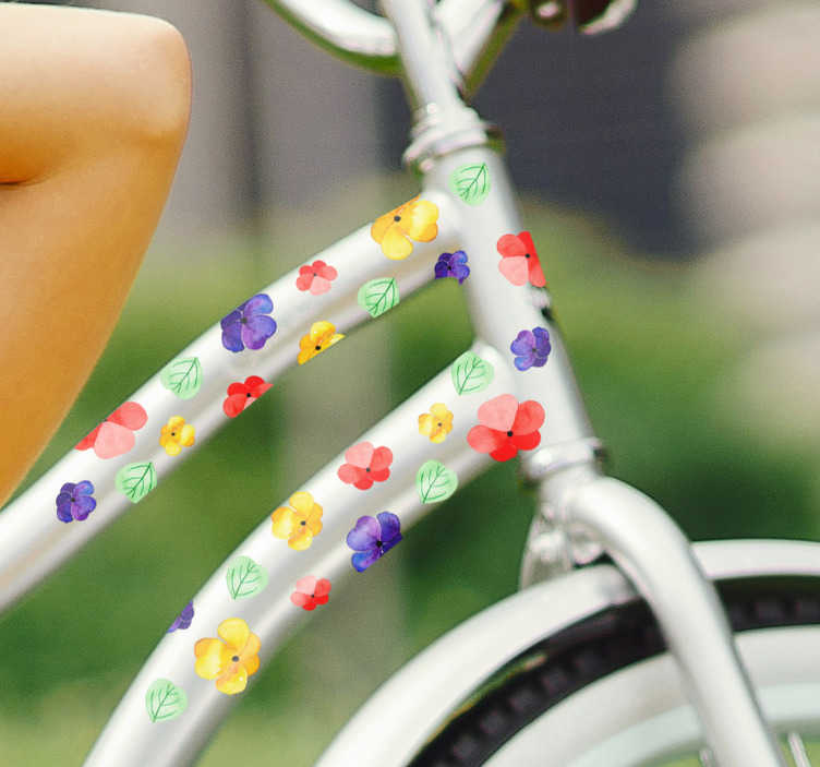 TenStickers. Colorful flowers Bike Decal. Decorate your bicycle with this bike sticker, depicting a set of colorful flowers! Ideal floral decor if you love to ride your bike and love flowers!