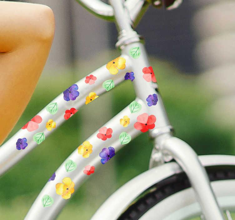 TenStickers. 화려한 꽃 자전거 스티커. 화려한 꽃 세트를 묘사 한이 자전거 스티커로 자전거를 장식하십시오! 이상적인 꽃 장식 당신의 자전거를 타고 사랑하고 꽃을 사랑한다면!