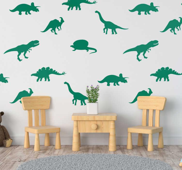 TenStickers. 不同的恐龙动物墙贴纸. 使用这个梦幻般的墙壁艺术贴纸为您的家庭添加一些恐龙,这也可以作为历史课程的两倍!现在买我们的恐龙墙贴花!