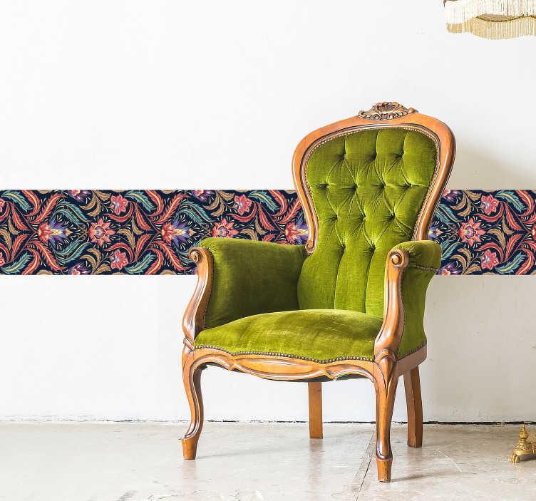 TenStickers. Sticker Maison Frise de style Rétro. Cette splendide frise murale autocollante fleurie donnera à la décoration de votre salon ou de votre chambre un style vintage inimitable.