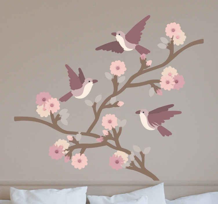 TenStickers. Autocolantes quarto de dormir Andorinhas. Autocolante decorativo de pássaros com lindas rosas de primavera, é fantástico para a sua sala de estar ou para o seu quarto.