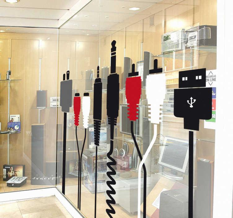 TenStickers. Sticker kabels elektronica. Een muursticker van een reeks kabels met andere ingangen. Een leuke sticker voor de decoratie van o.a. computerherstellers, elektronicawinkels.