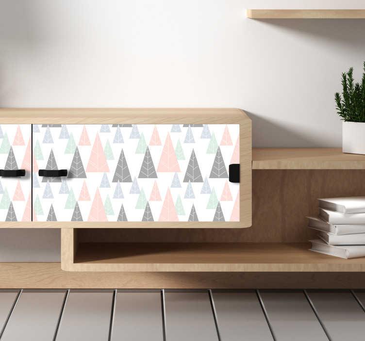 TenStickers. Sticker Meuble Sapins d'hiver. Pour tous ceux dont l'hiver est la saison préférée, vous allez adorer ce sticker pour meuble représentant des dessins de sapins d'hiver colorés.