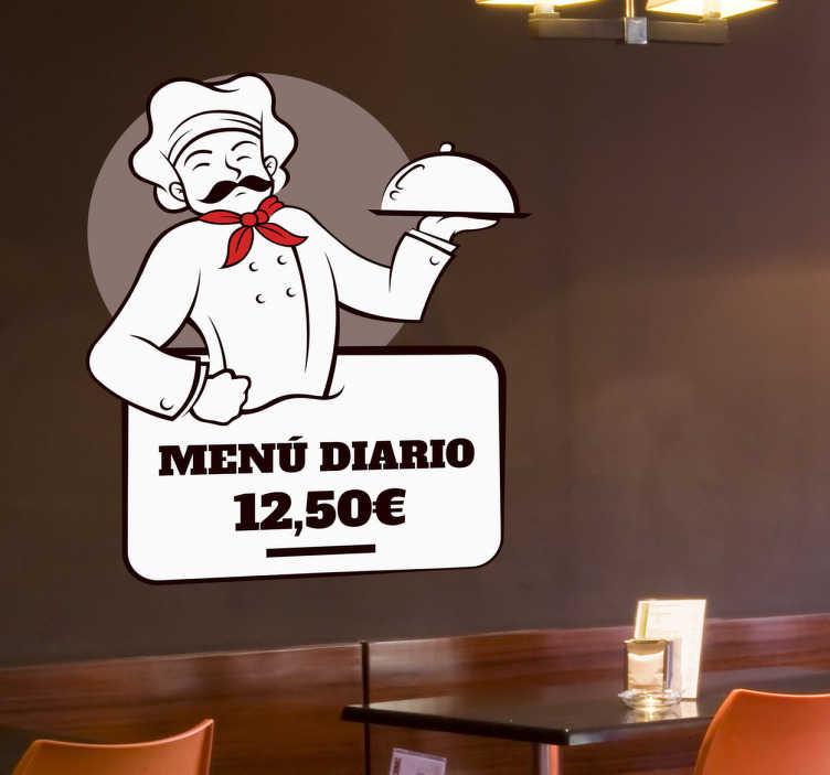 TenStickers. Sticker chef menu restaurant. Affichez en vitrine vos plats les plus appétissants sur l'autocollant menu de ce chef gourmand à moustache ! +10.000 Clients Satisfaits.