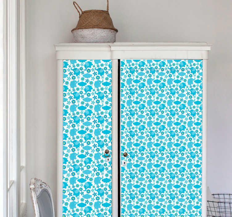 TenStickers. Sticker Meuble Petits Éléphants Bleus. Les adorables dessins d'éléphants bleus de ce sticker pour meuble pour chambre d'enfant seront parfaits pour donner une atmosphère apaisante.