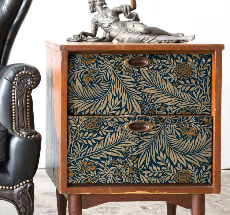TenStickers. Okleina meblowa Ornamenty vintage. Nie wiesz jak ozdobić sypialnię lub salon? Znudził Ci się wygląd mebli? Zastosuj nasze naklejki na meble w formie złotych ornamentów roślinnych.