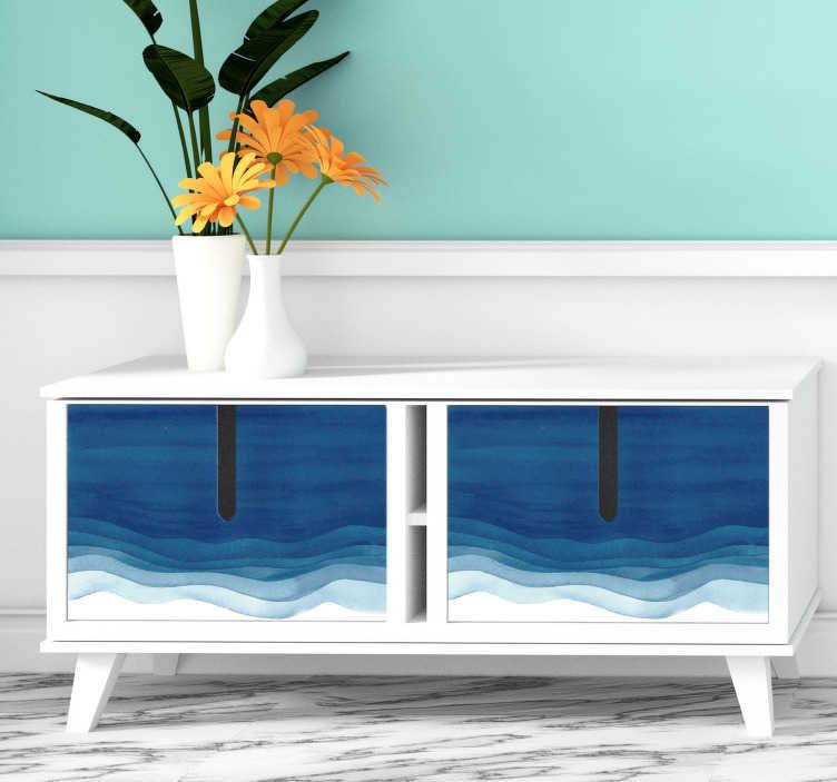TenStickers. Sticker Meuble Franges Bleues. Pour donner l'impression que les vagues de la mer sont peintes sur vos meubles, rien de mieux que ce sticker pour meuble de franges bleues.
