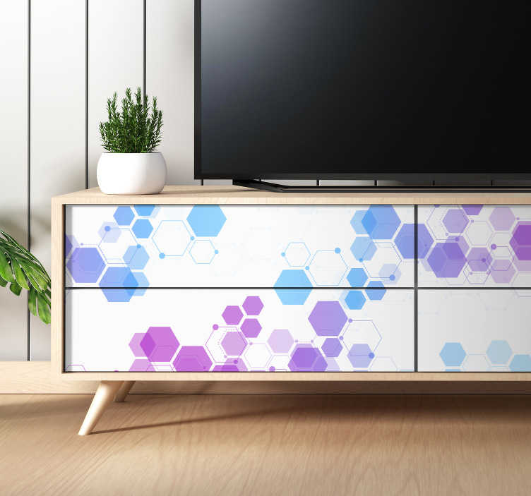 TenStickers. Abstract hexagons furniture decal. Decorative geometric shape furniture sticker for drawers, cabinet. tables, and wardrobe in the home. Easy to apply and available in any required size.